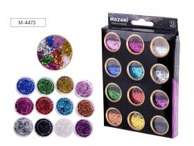 Набор блёсток декоративных №6, 12 цветов х 5.6 г, картонная коробка M-4473 цена за 12 шт