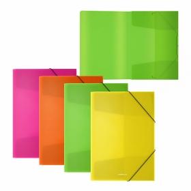 Папка на резинках пластиковая  ErichKrause® Neon, A5+, ассорти (в коробке-дисплее по 24 шт.) 42987