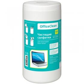 Салфетки чистящие влажные OfficeClean, для мониторов всех типов, в тубе, 100шт. 248261