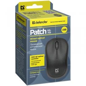 Мышь Defender Patch MS-759, USB, черный, 2btn+Roll 52759