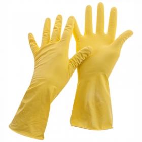 Перчатки резиновые хозяйственные OfficeClean Стандарт+, супер прочные, р.M, желтые, пакет с европодв
