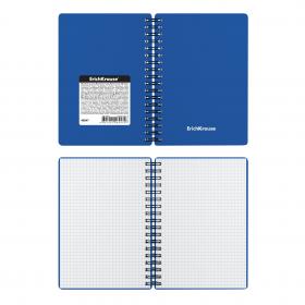 Тетрадь общая с пластиковой обложкой на спирали ErichKrause® Classic, синий, А6, 60 листов, клетка 4