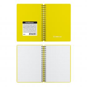 Тетрадь общая с пластиковой обложкой на спирали ErichKrause® Classic, желтый, А6, 60 листов, клетка
