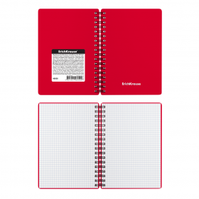 Тетрадь общая с пластиковой обложкой на спирали ErichKrause® Classic, красный, А6, 60 листов, клетка