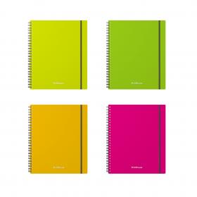 Тетрадь общая с пластиковой обложкой на спирали ErichKrause® Neon, А5+, 80 листов, клетка, на резинк