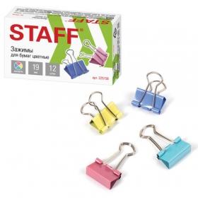 Зажимы для бумаг 19 мм, 12шт., цветные, STAFF Profit, 225156 (цена за 12 шт - 1 уп.)