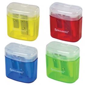 Точилка BRAUBERG с контейнером, пластиковая, прямоуг., 2 отверстия, с крышкой, ассорти, 226942