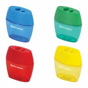 Точилка BRAUBERG с контейнером, пластиковая, овальная, 2 отверстия, цв.ассорти, 226941