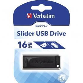 """Карта памяти USB Flash 2.0 16 Gb """"Slider"""" Verbatim пластик, черный, 98696"""
