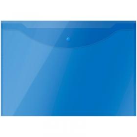 Папка-конверт на кнопке OfficeSpace А3, 150мкм, полупрозрачная, синяя 267523