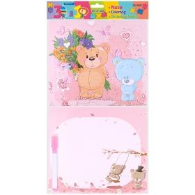 Набор для детей 3 в 1 (пазл, раскраска + доска для рисования), DV-9656