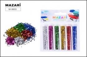 Набор блёсток декоративных, 6 цветов х 3 г, в пластиковых тубах, с европодвесом M-9803 цена за 6 шт