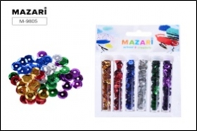 Набор пайетки декоративных, 6 цветов х 2.5 г, в пластиковых тубах, с европодвесом M-980 цена за 6 шт
