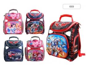 Ранец для школьников , 36х26х15см, 1 отд., 3 карм., EVA спинка, в слож.виде., ассорти 5 цветов 669*