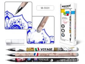 Ручка гелевая со стираемыми чернилами VOYAGE, СИНЯЯ, игольчатый пиш.узел 0.5мм,стреж.125мм, M-5531