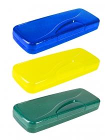 Пенал цветной прозрачный с блестками (ПМ-2066), пластик, 3 цвета МИКС ПМ-2066