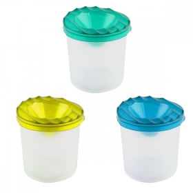 Стакан-непроливайка, одинарный, прозрачный, с блестками (С-2071) 3 цвета, МИКС С-2071
