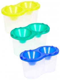 Стакан-непроливайка, двойной , прозрачный, с блестками (С-2072), 3 цвета, МИКС С-2072