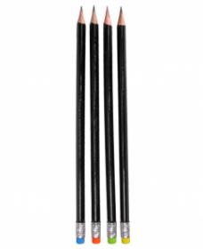 Карандаш ч/г, деревянный трехгранный, заточенный (КЧ-3172) неоновый ластик, кратно 36 КЧ-3172