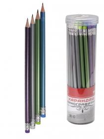 Карандаш ч/г, трехгранный, перламутровый кор., заточ. с ластиком (КЧ-3176) 4 цв. микс кратно 36 КЧ-3