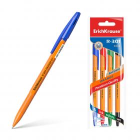 Ручка шариковая ErichKrause® R-301 Orange Stick 0.7, цвет чернил: син, чер, кр, зел по 4шт 44594