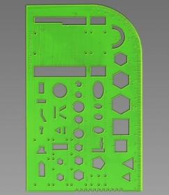 Трафарет, пластмассовый, геометрические фигуры, СТУДЕНЧЕСКИЙ, зеленый арт.ТТ81