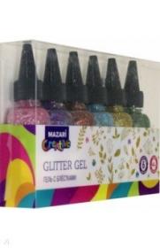 Гель с блёстками 40 мл  GLIMMER-1 , 6 цветов, M-5666B-D цена за шт