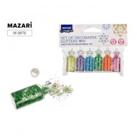 Набор блёсток декоративных № 13, 6 цветов х 2 г, стеклянная колба / ОПП-упаковка M-9876 цена за 6 шт