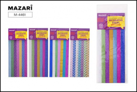 Ленты декоративные с блёстками, 28 шт, 25х1.2 см, бумажные, ассорти дизайнов, ОПП-упаковка  M-4461