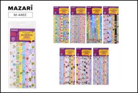 Ленты декоративные с рисунками, 120 шт, 25х1.2 см, бумажные, ассорти дизайнов, ОПП-упаковка  M-4463