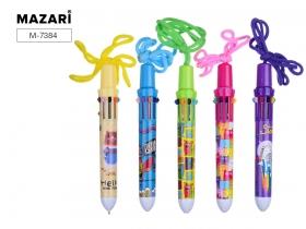 Ручка шариковая автоматическая LOLLYPOP, 10 цветов пулевидный пиш. узел 1.0 мм,  стержень 67.4 мм,