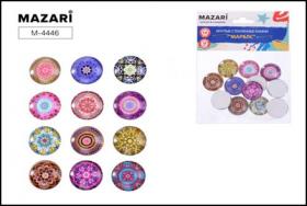 Стеклянные камни МАРБЛС, 12 шт, круглые, диаметр 18 мм, самоклеящиеся,  M-4446