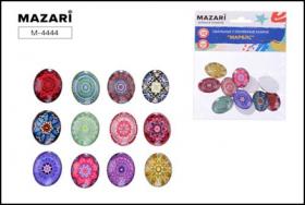 Стеклянные камни МАРБЛС, 12 шт, овальные, размер 15х20 мм, самоклеящиеся,  M-4444
