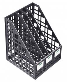 Лоток для бумаг вертикальный сборный 4 отделений, черный ЛТ83