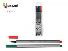 Набор файнлайнеров FINO, 4 цвета, 0.4 мм, трехгранный корпус, ПВХ-упаковка M-5300- 4