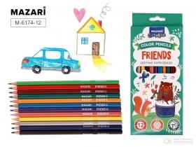 Карандаши цветные пластик.FRIENDS,трехгран., 12цв M-6174 -12
