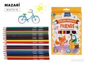 Карандаши цветные пластик.FRIENDS,трехгран., 18цв M-6174 -18