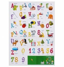 ПЛАКАТ. Формат А2. АНГЛИЙСКИЙ АЛФАВИТ И ЦИФРЫ (картон) (Арт. ПД-7359) кратно 10