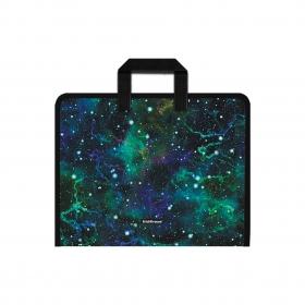 Папка на молнии пластиковая с ручками ErichKrause® Emerald Stardust, А4+ (в пакете по 4 шт.) 52848