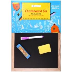 Доска для рисования двусторонняя маркерно-меловая 35*25см + губка + маркер + 2 мелка DV-9793