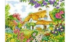 Набор для вышивания крестиком 30*40 см (полн. заполн,канва с рис.) Домик с садом XD1993