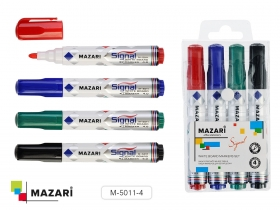 Набор маркеров для белой доски, SIGNAL, 4 цв., пулевидный наконечник, 4мм, M-5011-4