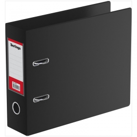 Папка-регистратор Berlingo, 70мм, А5, горизонтальная, ПВХ, с карманом на корешке, черная ATp_77510