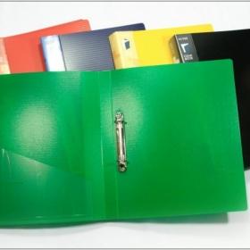 Папка с 2-мя кольцами (25мм) зеленая 07Q-2K толщина 0,7 мм