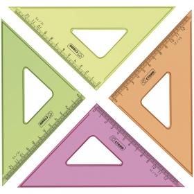 Треугольник 45°, 12см, прозрачный флуоресцентный, 4цв. ТК44
