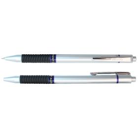 Ручка авт. Piano синяя на масляной основе, корпус сереб.с резин.держат.,с клипомPT-186