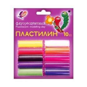 Пластилин Флуоресцентный 10 цв.(в блистере) 12С 766-08