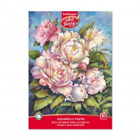 Альбом для рисования с бумагой для акварели на клею ArtBerry® Пионы, А4, 10 листов 45438