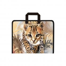 Папка на молнии пластиковая с ручками ErichKrause® Wild Cat, A4+ (в пакете по 4 шт.) 48704