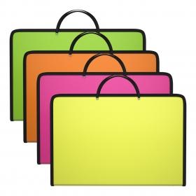 Папка пластиковая на молнии с ручками ErichKrause® Diagonal Neon, A4, ассорти (в пакете по 4 шт.) 47